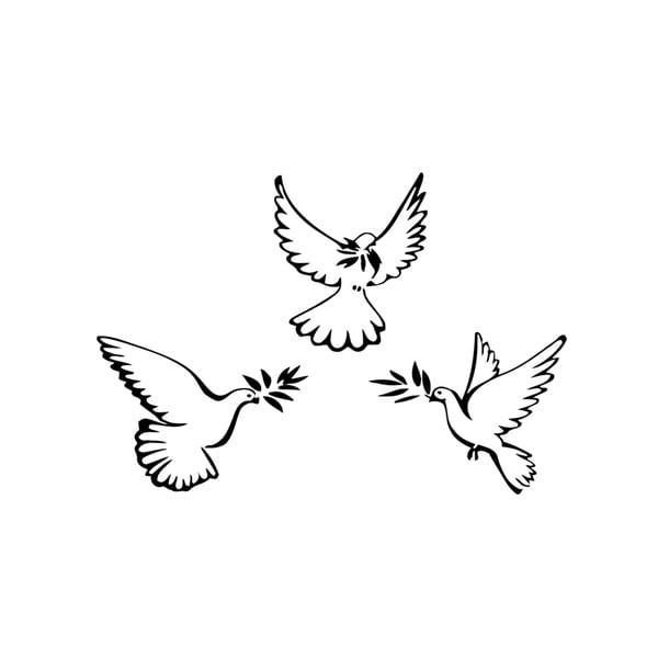 Three Flying Doves Vinyl Wall Art