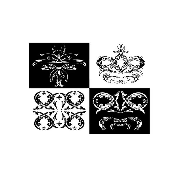 Set of Four Crowns Vinyl Wall Art