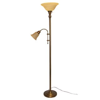 Pebbled Bronze Torchiere Adjustable Reading Arm Floor Lamp