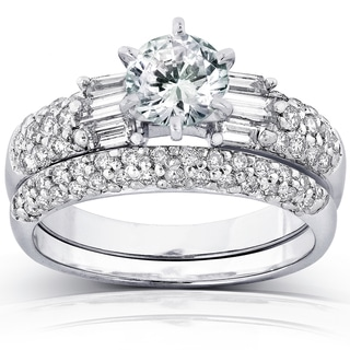 Annello 14k White Gold Certified 2ct TDW Round and Baguette Diamond Bridal Rings Set (G, SI3)