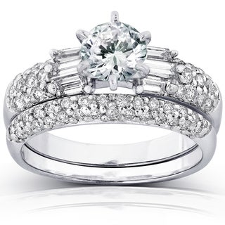 Annello 14k White Gold Certified 2ct TDW Round and Baguette Diamond Bridal Rings Set (G, SI3) with Bonus Item