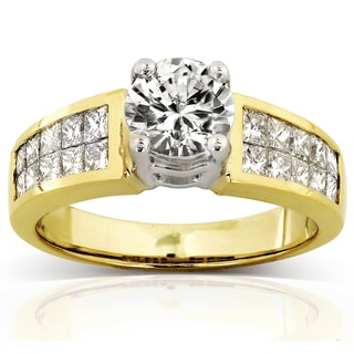 Annello 18k Gold Certified 2ct TDW Round and Princess Double Row Diamond Engagement Ring (G, SI3)