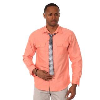 Justified Lies Men's Slim Fit Salmon Shirt and Plaid Tie Set