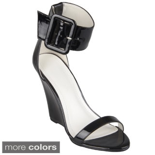 Journee Collection Women's 'Solar-1' Thick Buckle Ankle Strap Wedges