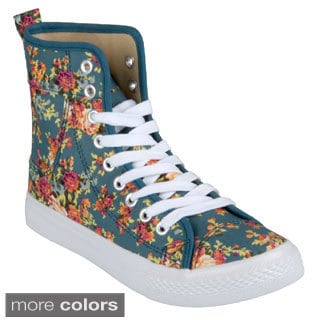 Journee Collection Women's 'Esther-2' Floral Print High-top Sneakers