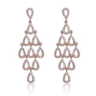 Collette Z Rose-plated Sterling Silver Cubic Zirconia Chandelier Earrings
