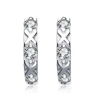 Collette Z Sterling Silver Cubic Zirconia 'X' Design Mini Hoop Earrings