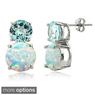 Glitzy Rocks Sterling Silver Synthetic Opal and Gemstone Earrings