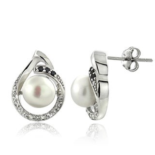 Glitzy Rocks Sterling Silver Pearl and Gemstone Teardrop Earrings