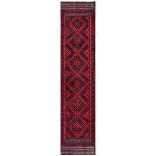 Semi-antique Afghan Hand-knotted Tribal Balouchi Navy/ Red Wool Rug (1'11 x 8'9)