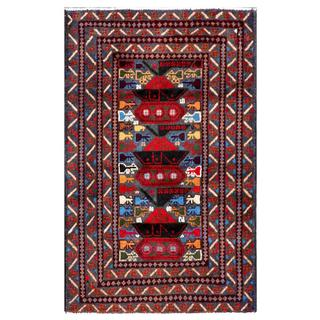 Semi-antique Afghan Hand-knotted Tribal Balouchi Red/ Blue Wool Rug (2'7 x 4'2)