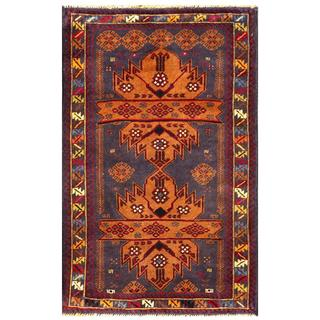 Semi-antique Afghan Hand-knotted Tribal Balouchi Brown/ Grey Wool Rug (2'10 x 4'5)