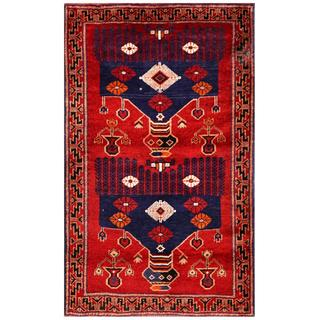 Semi-antique Afghan Hand-knotted Tribal Balouchi Red/ Navy Wool Rug (2'9 x 4'7)