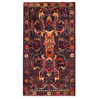 Semi-antique Afghan Hand-knotted Tribal Balouchi Copper/ Navy Wool Rug (2'8 x 4'11)