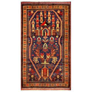 Herat Oriental Semi-antique Afghan Hand-knotted Tribal Balouchi Navy/ Beige Wool Rug (2'10 x 5'1)