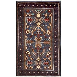 Semi-antique Afghan Hand-knotted Tribal Balouchi Blue/ Ivory Wool Rug (2'8 x 4'7)