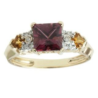 Michael Valitutti 14k Yellow Gold Rhodolite, Citrine and 1/10ct TDW Diamond Ring (I-J, I1-I2)