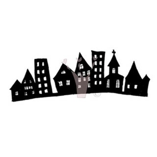 """Fall Cling Stamp 3.75""""X6.5"""" Package-Little Town"""