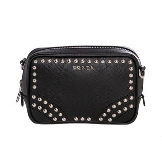 Prada Mini Black Leather Studded Zip Crossbody Bag