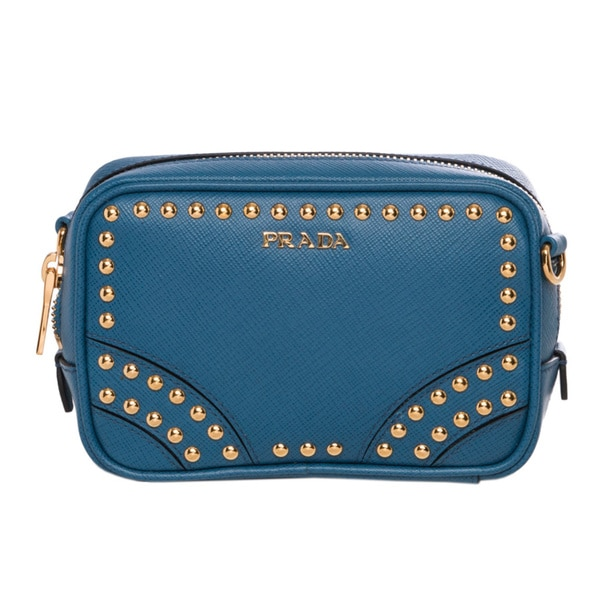 Prada Mini Blue Leather Studded Zip Crossbody Bag