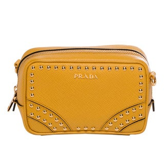 Prada Mini Yellow Leather Studded Zip Crossbody Bag