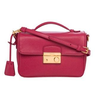 Prada Small Cobalt Pink Saffiano Leather Crossbody Bag