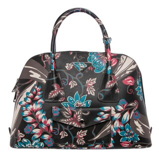 Prada Floral Print Saffiano Leather Satchel