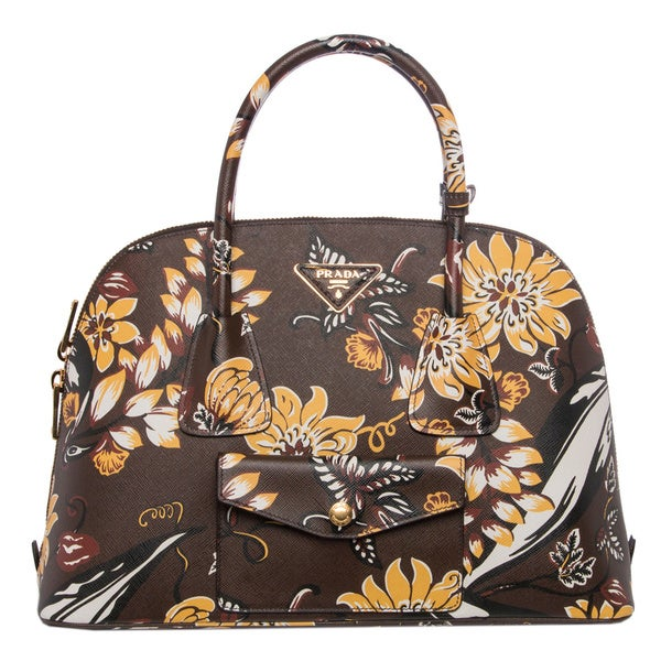 Prada Brown Floral Print Saffiano Leather Satchel
