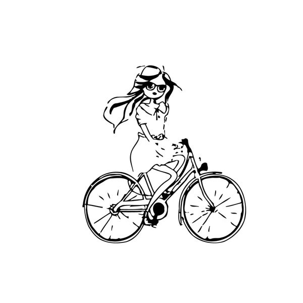 Cute Girl on Bicycle Vinyl Wall Art