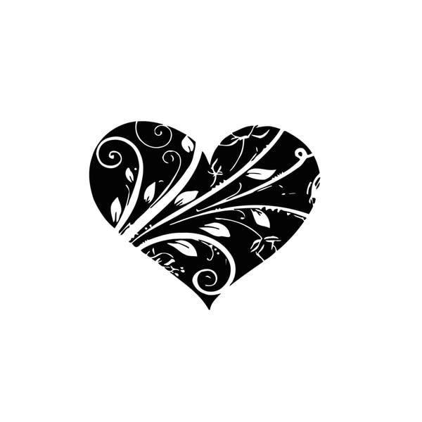 Floral Heart Vinyl Wall Art