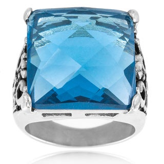West Coast Jewelry Stainless Steel Square Faceted Blue Resin Decorative Leaf Band Ring