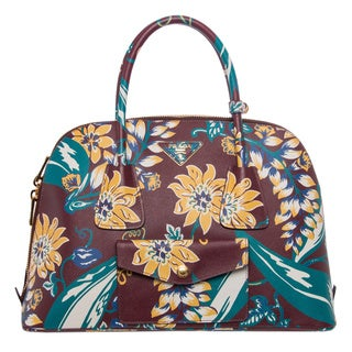 Prada Multicolored Floral Print Saffiano Leather Satchel