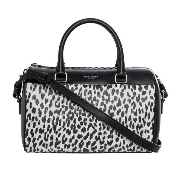 Saint Laurent Black and White Leopard Print Leather Mini Duffle ...