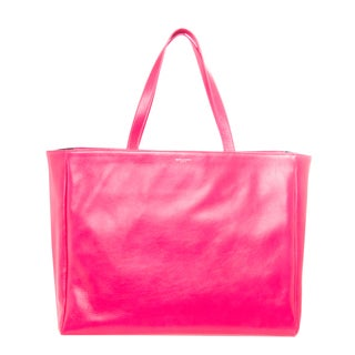 Saint Laurent Hot Pink Leather and Canvas Reversible Shopper Tote