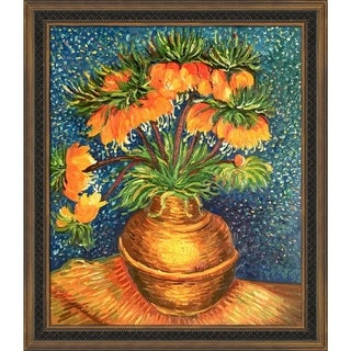 Vincent Van Gogh 'Crown Imperial Fritillaries in a Copper Vase' Hand Painted Framed Canvas Art