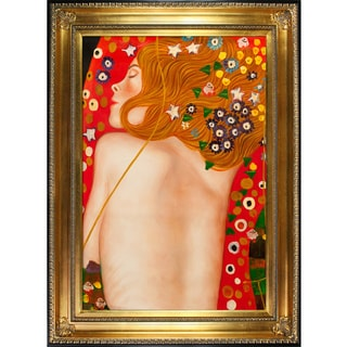 Gustav Klimt 'Sea Serpents IV (modest)' Hand Painted Framed Canvas Art
