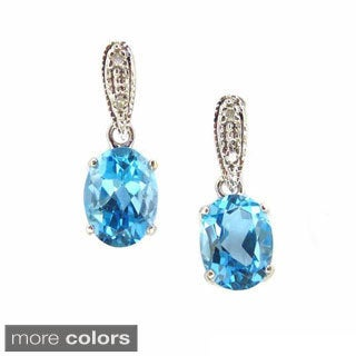 Kabella 14k White Gold Diamond Accent Gemstone Birthstone Dangle Stud Earring