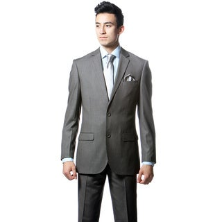 Zonettie by Ferrecci Mens Slim Fit Dark Grey Pinstripe 2-piece Suit