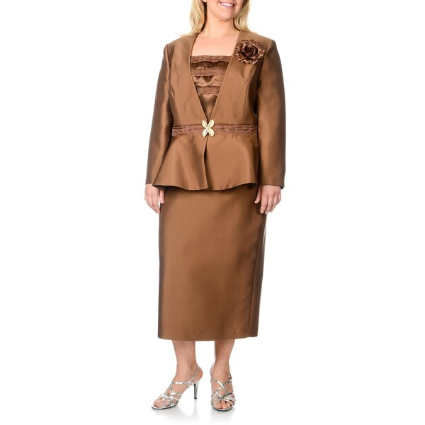 Giovanna Signature Women's Plus-size Chocolate 3-piece Skirt Suit