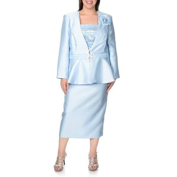 Giovanna Signature Women's Plus-size Chocolate 3-piece Skirt Suit