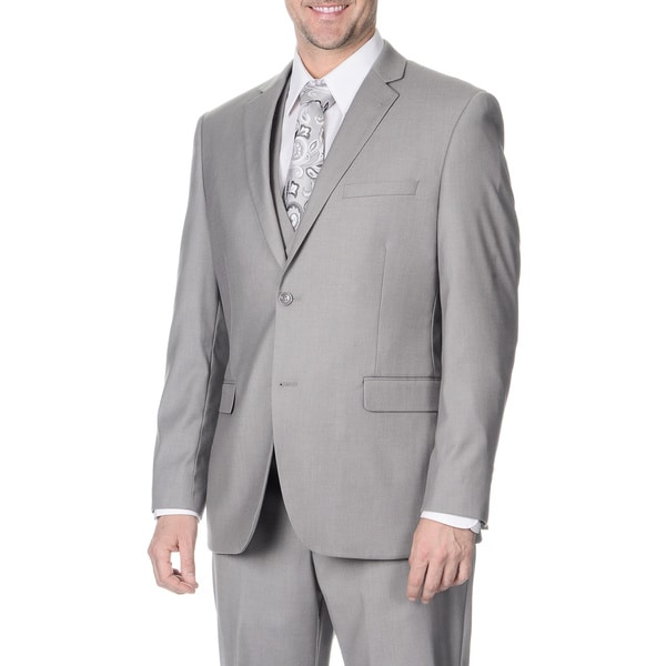 Caravelli Men's Slim Fit Light Grey Vested Suit