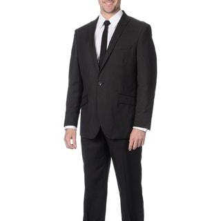 Reflections Men's Linen Blend Peak Lapel Black Suit