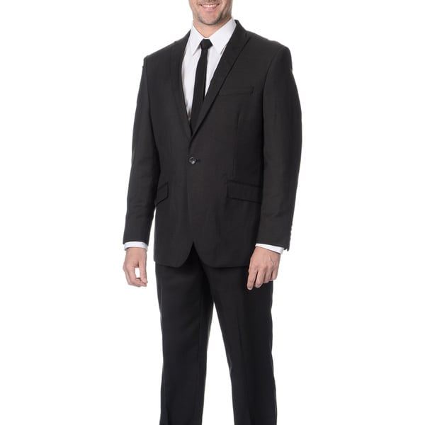 Reflections Men's Linen Blend Peak Lapel Black Suit
