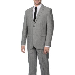 Reflections Men's Linen Blend Notch Lapel 2-button Grey Suit