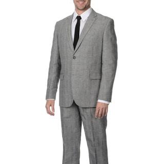 Reflections Men's Linen Blend Notch Lapel 2-button Grey Suit