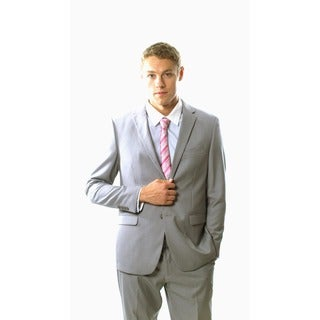 West End Men's Young Look Slim Fit 2-button Light Grey Suit