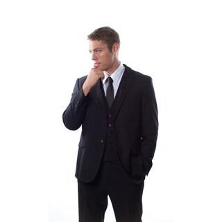 West End Men's Young Look Slim Fit Black Vested Suit