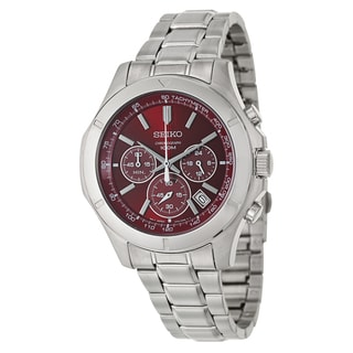 Seiko Men's SSB101P1 Stainless Steel Wine Dial Chronograph Watch