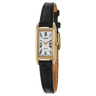 Seiko Women's SUP044 'Core' Yellow Gold-plated Leather Watch