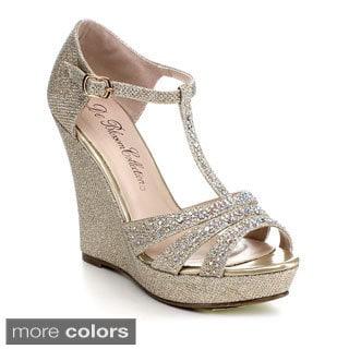 Blossom Alle-2 Women's Glitter Sparkle T-Strap Platform Wedge
